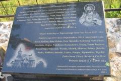 Tablica w miejscu dawnego kościoła w Hucie Stepańskiej